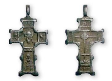 Нательный крест XV-XVI вв. В средокрестии лицевой стороны образ Спаса Нерукотворного. В средокрестии обратной стороны изображение Голгофского креста